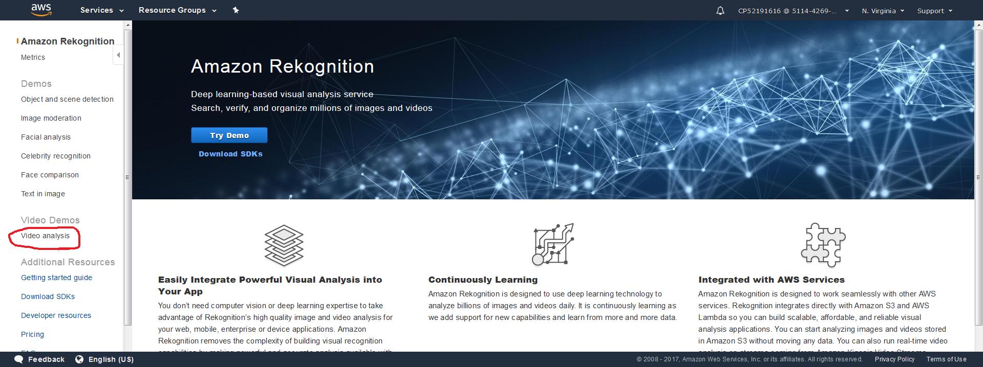 Amazon Rekognition English menu